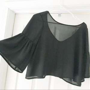 Sheer Black Bell Sleeve Crop Top Blouse